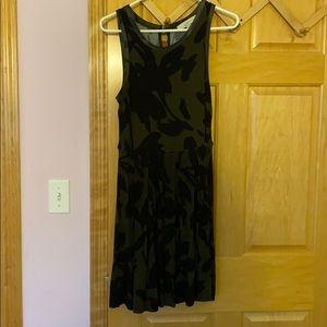 LOFT Olive and black floral dress